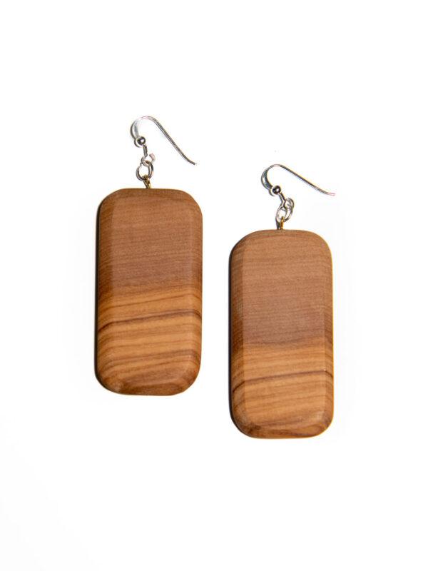 Orecchini rettangolari in legno